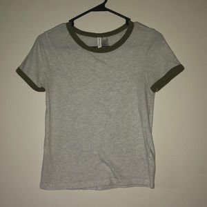 White Short Sleeve Top with Green Hems